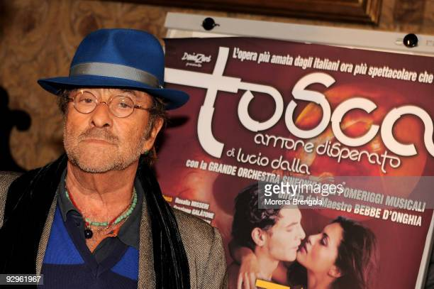 Italian Singer Lucio Dalla attends photocall for the launch of Tosca amore disperato musical on November 10 2009 in Milan Italy