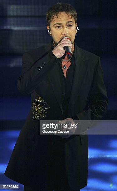 Italian singer Marco Masini performs at the second day of the San Remo Festival at the Ariston Theatre on March 2 2005 in San Remo Italy The fiveday...