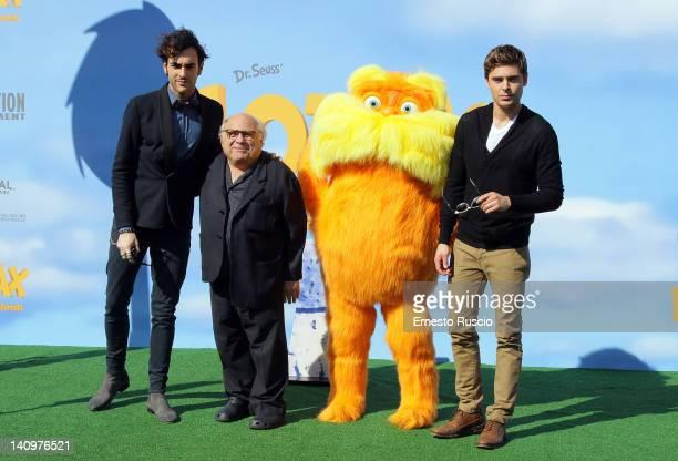 Italian singer Marco Mengoni Danny De Vito and Zac Efron attend the Dr Seuss' The Lorax photocall at Casa del Cinema on March 9 2012 in Rome Italy