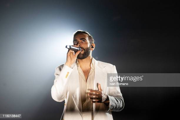 Italian singer Marco Mengoni performs for her 'Atlantico Mengoni Live 2019' tour at Palasele of Eboli on May 18, 2019 in Eboli, Italy. The artist is...