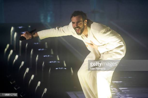 Italian singer Marco Mengoni performs for her 'Atlantico Mengoni Live 2019' tour at Palasele of Eboli on November 24, 2019 in Eboli, Italy. The...