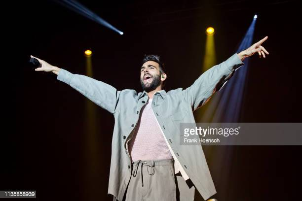 Italian singer Marco Mengoni performs live on stage during a concert at the Tempodrom on April 8, 2019 in Berlin, Germany.