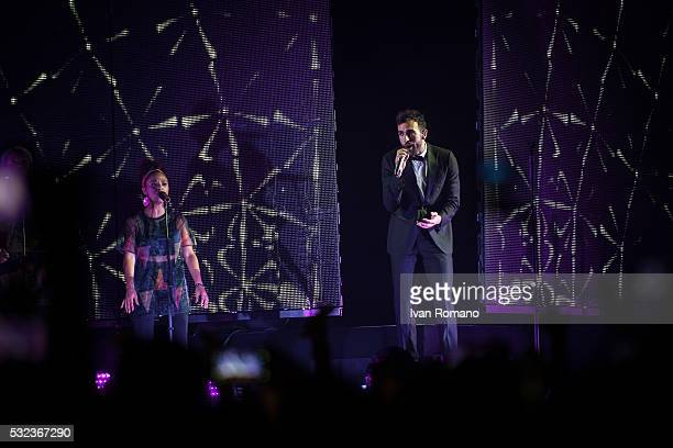 Italian singer Marco Mengoni performs on stage soldout concert at Palasele of Eboli for his #Mengoni Live 2016 Tour for the launch of his latest...
