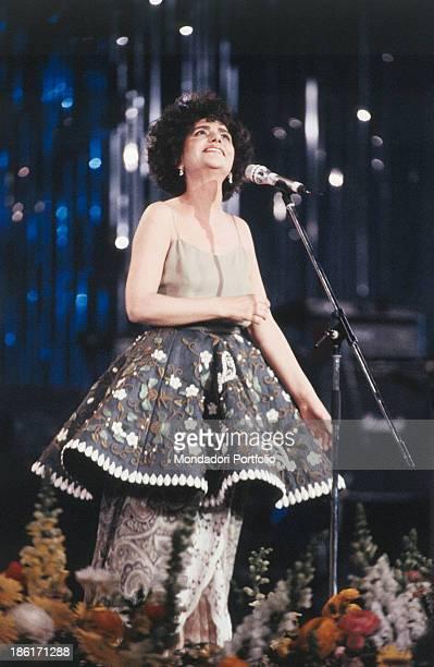 Italian singer Mia Martini performing at the 40th Sanremo Music Festival Sanremo 1990