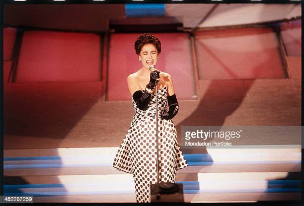Italian singer Mia Martini performing on the stage of the Ariston Theatre during the 39th Sanremo Music Festival Sanremo February 1989