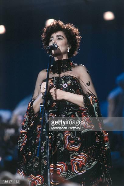 Italian singer Mia Martini singing at the 40th Sanremo Music Festival Sanremo 1990
