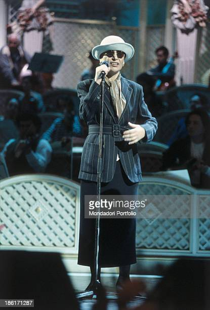 Italian singer Mia Martini singing at the 43rd Sanremo Music Festival Sanremo 1990