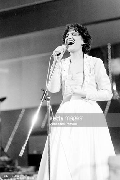 Italian singer Mia Martini singing E non finisce mica il cielo at the 32nd Sanremo Music Festival Sanremo January 1982