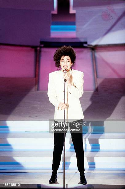 Italian singer Mietta singing the song Canzoni at the 39th Sanremo Music Festival third night Sanremo 23rd February 1989