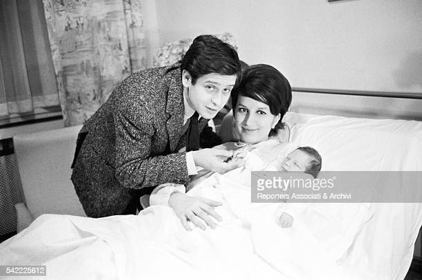 Italian singer Mina and Italian actor Corrado Pani at the hospital with their newborn son Massimiliano Milan 18th April 1963