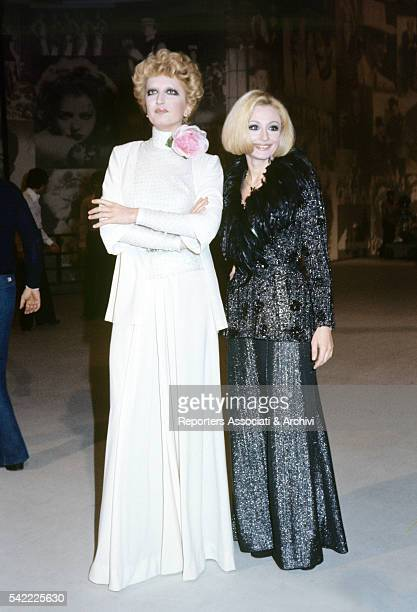 Italian singer Mina and Italian showgirl Raffaella Carrà hosting TV show Milleluci 1974