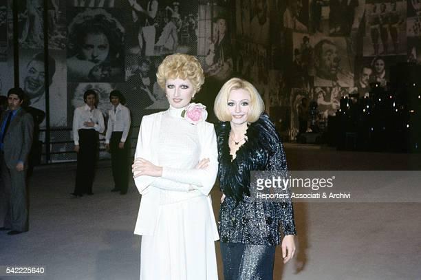 Italian singer Mina and Italian showgirl Raffaella Carrˆ hosting TV show Milleluci 1974
