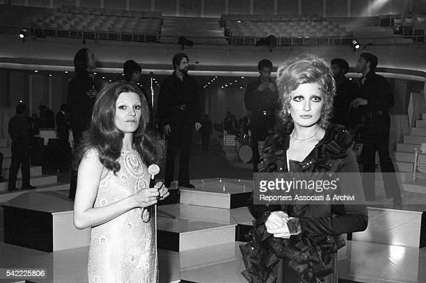 Italian singer Mina and Italian singer and actress Milva singing in TV show Teatro 10 1972