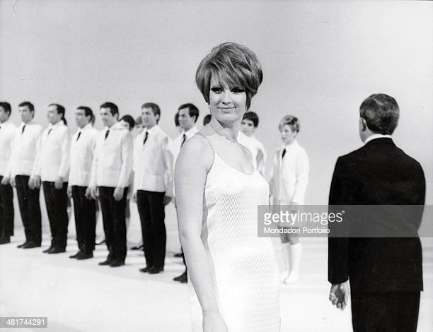 Italian singer Mina born Mina Anna Maria Mazzini portraying in a promotional picture for the upcoming broadcast Canzonissima taken from behind the...