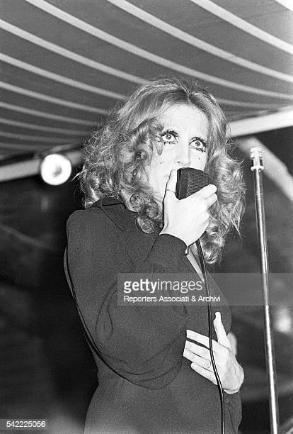 Italian singer Mina during a concert Fregene 1970