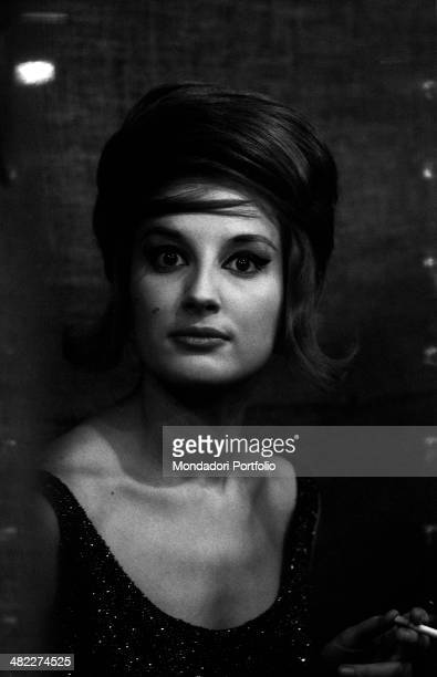 Italian singer Mina getting ready in the dressing room before the dress rehearsal of the TV broadcast Canzonissima Vicenza 6th January 1961