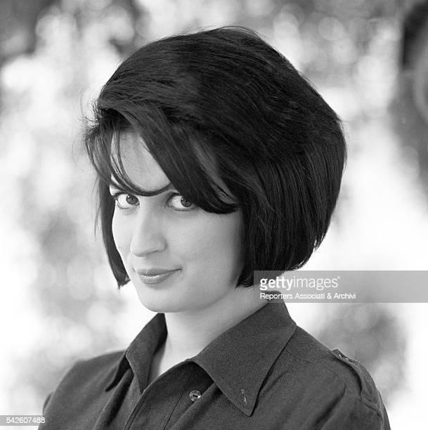 Italian singer Mina on a movie set Milan 1963
