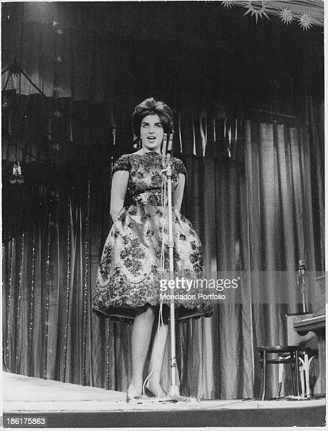 Italian singer Mina performing at 10th Sanremo Music Festival Sanremo January 1960