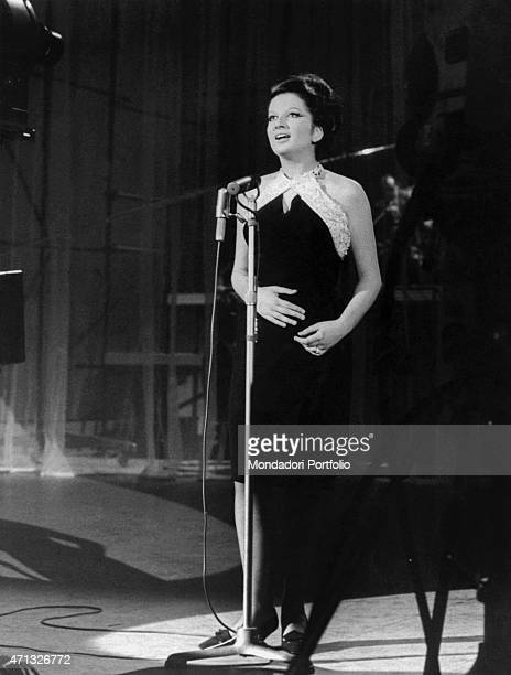 Italian singer Mina performing in the TV variety show Teatro 10 Italy 1964