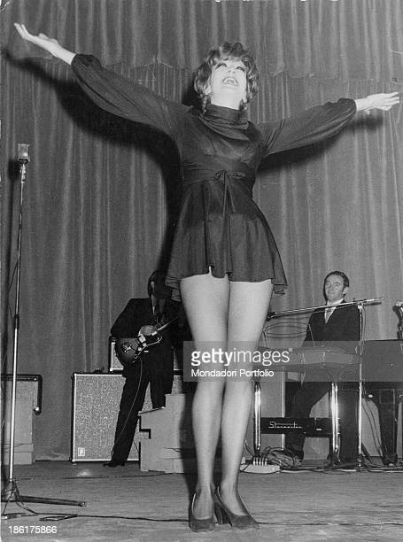 Italian singer Mina performing on a stage 1969