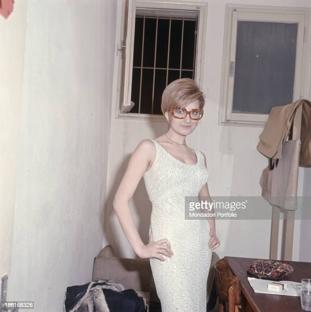 Italian singer Mina posing with hands on hips 1966