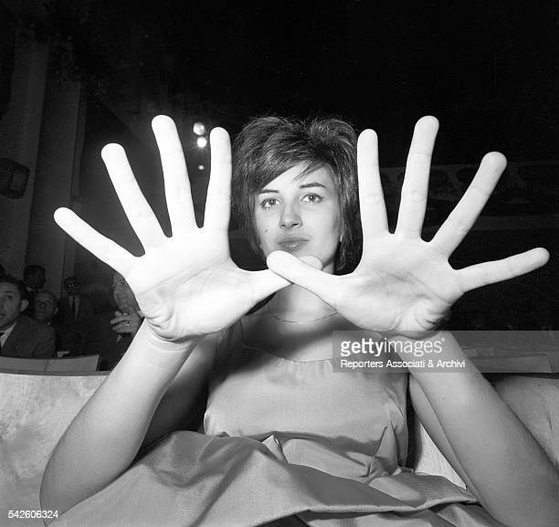 Italian singer Mina showing her hands during X Sanremo Song Festival Sanremo 1960