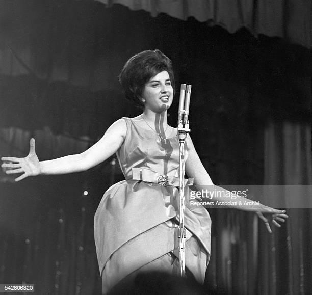 Italian singer Mina singing during X Sanremo Song Festival Sanremo 1960