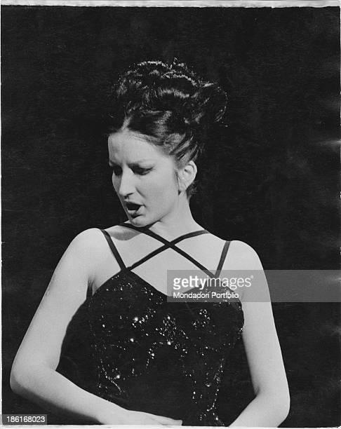 Italian singer Mina singing the song Un bacio è troppo poco 1964