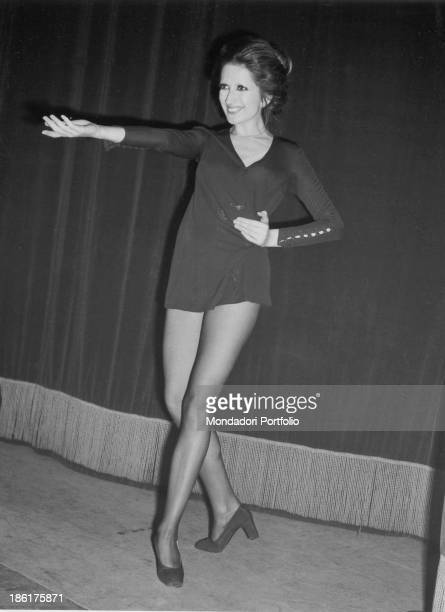 Italian singer Mina smiling on the stage 1960s