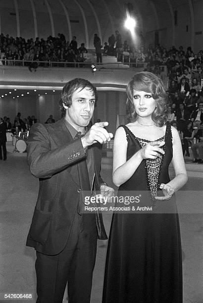 Italian singer Mina with Italian singer and actor Adriano Celentano during the reharsal of TV show Teatro 10 1972