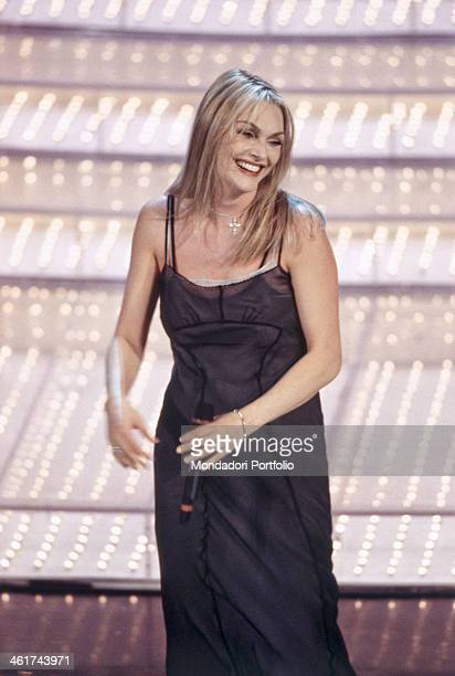 Italian singer of Albanian origin Anna Oxa born Iliriana Hoxha smiles on the stage of the Teatro Ariston during the XLVII edition of the Sanremo...