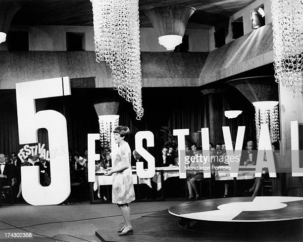 Italian singer Orietta Berti on stage during the 5th Asiago Festivalbar singing the song Non illuderti mai Asiago September 19 1968