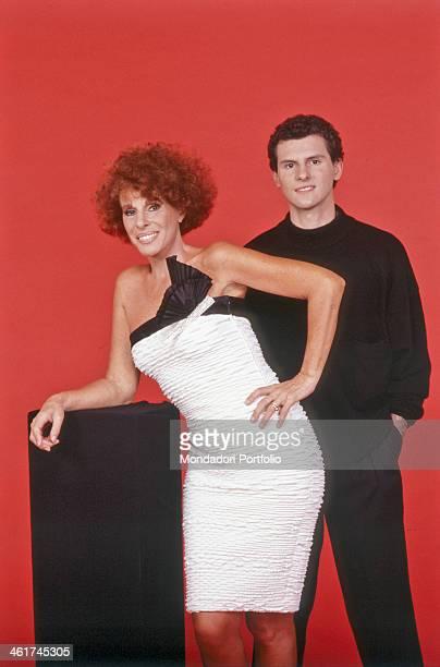 Italian singer Ornella Vanoni posing beside his son Cristiano Italy 1987