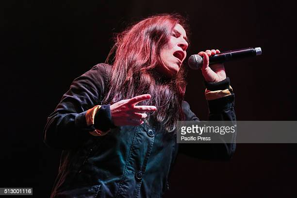 Italian singer Paola Turci performs during the closing of the commemoration of the tenth anniversary of the XX Olympic Winter Games