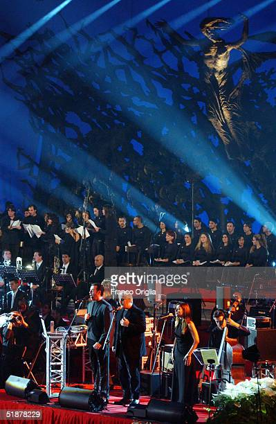 """Italian singer Pino Daniele performs at the """"Vatican Christmas Concert"""" to raise funds to build churches in outlying neighbourhoods of Rome, at the..."""
