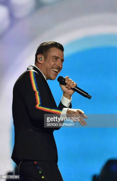 Italian singer representing Italy with the song 'Occidentali's Karma' Francesco Gabbani performs on stage during the final of the 62nd edition of the...