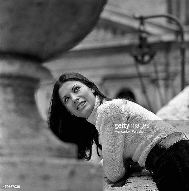 Italian singer Rosanna Fratello poses looking up she started her career at a tender age then became famous thanks to a participation in 1969 Sanremo...