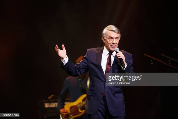 Italian Singer Salvatore Adamo performs on stage after being awarded with the Sacem's Special Prize during les Grands Prix De La Sacem 2017 Ceremony...