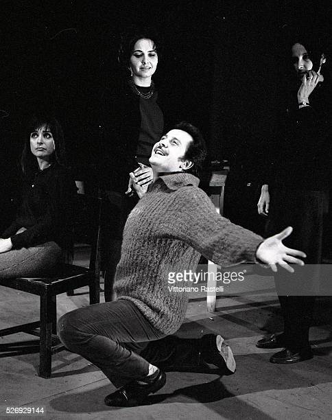 Italian singer songwriter and actor Domenico Modugno on the set of a TV show