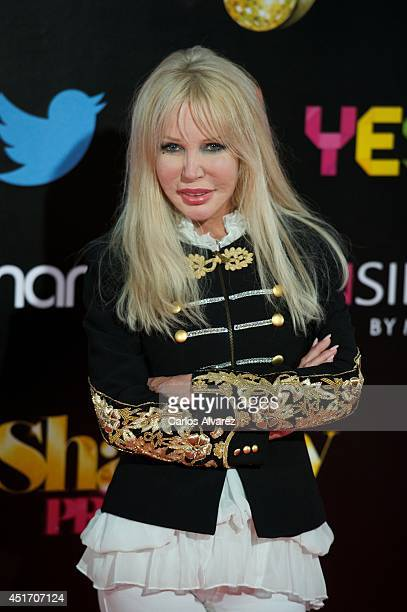Italian singer Spagna attends the Shangay Pride concert at the Vicente Calderon stadium on July 4 2014 in Madrid Spain
