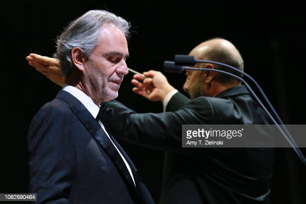 Italian singer tenor Andrea Bocelli performs live in support of his new album 'Si' as Carlo Bernini conducts the orchestra at The O2 Arena on...