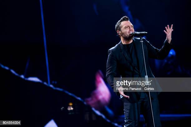 Italian singer Tiziano Ferro performs in concert at Olympic Stadium on June 28 2017 in Rome Italy