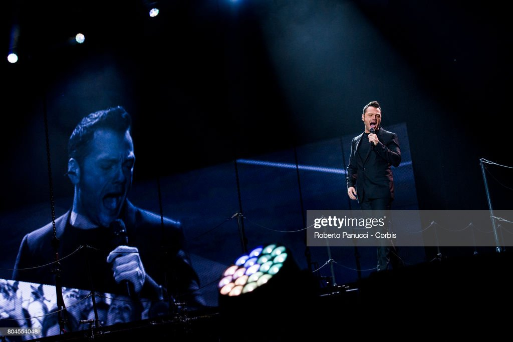 Italian singer Tiziano Ferro performs in concert at Olympic Stadium on June 28, 2017 in Rome, Italy.
