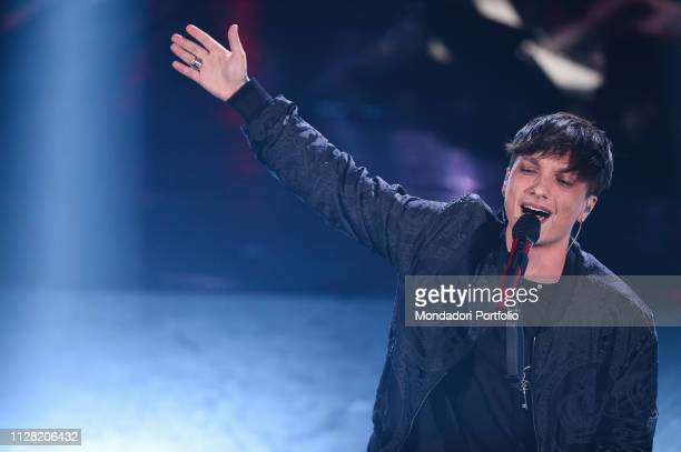 Italian singer Ultimo at the third evening of the 69th Sanremo Music Festival Sanremo February 7th 2019