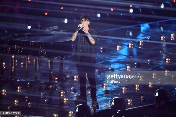 Italian singer Ultimo perform duirng final of italian version of talent show X Factor in Mediolanum Forum Assago Milan