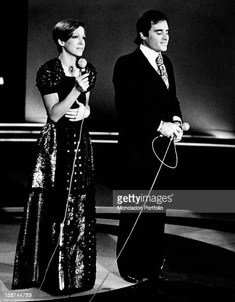 Italian singer Wilma Goich taking part with her husband Italian singersongwriter Edoardo Vianello in the closing performance of Canzonissima Together...