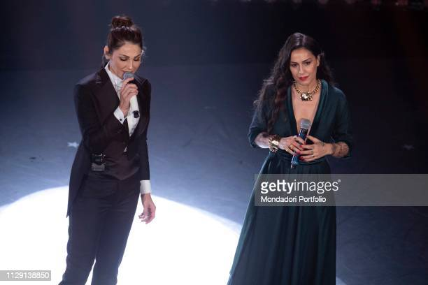 Italian singers Anna Tatangelo and Syria during the fourth evening of the 69th Sanremo Music Festival Sanremo February 8th 2019