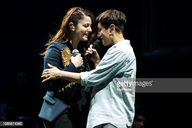 Italian singers Annalisa and Arisa perform on stage at Estathè Market Sound festival in milan on May 16 2015