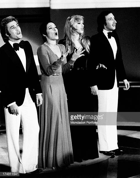 Italian singers Marina Occhiena Angela Brambati Angelo Sotgiu and Franco Gatti performing during the final night of the 18th Canzonissima They form...