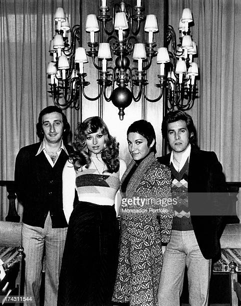 Italian singers Marina Occhiena Angela Brambati Angelo Sotgiu and Franco Gatti posing together They form the band Ricchi e Poveri Rome 1970s